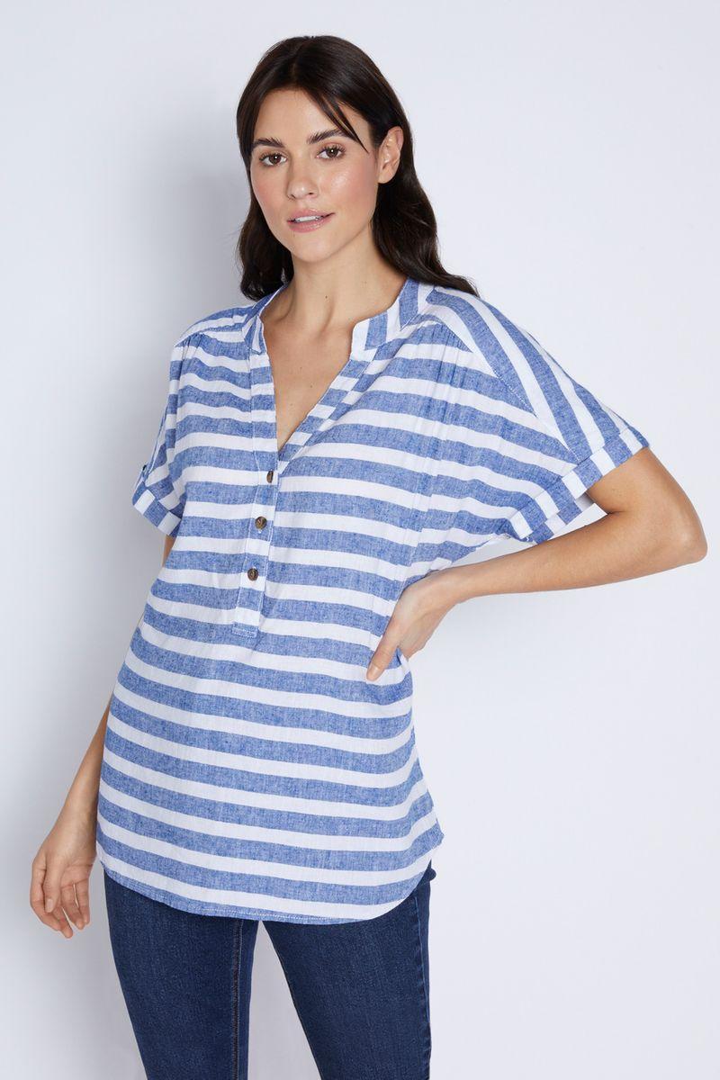 Blue Stripe Linen Overhead Shirt