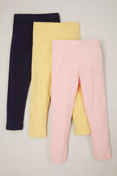 3 Pack Pink Yellow Navy leggings