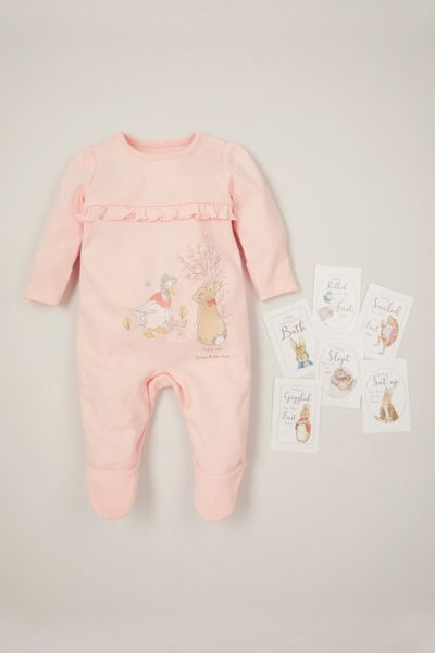 Peter Rabbit Pink Sleepsuit with Baby Memory cards