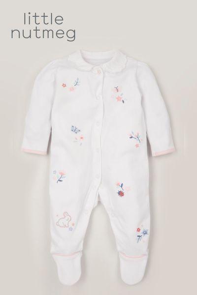 Little Nutmeg Broderie Collar sleepsuit