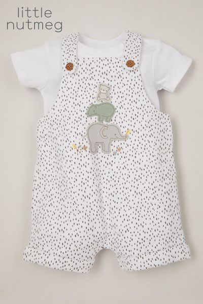 Little Nutmeg Spot Print Dungaree set