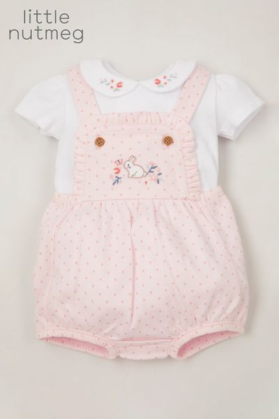 Little Nutmeg Pink Polka Dot Romper set