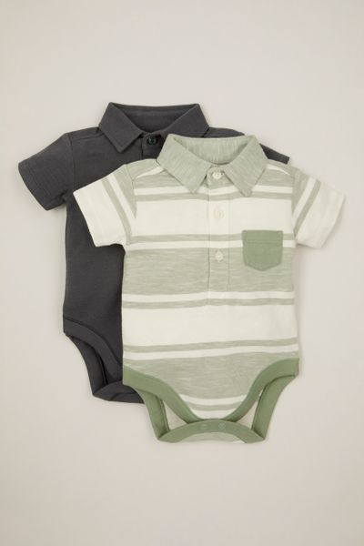 2 Pack Stripe Polo Shirt bodysuits