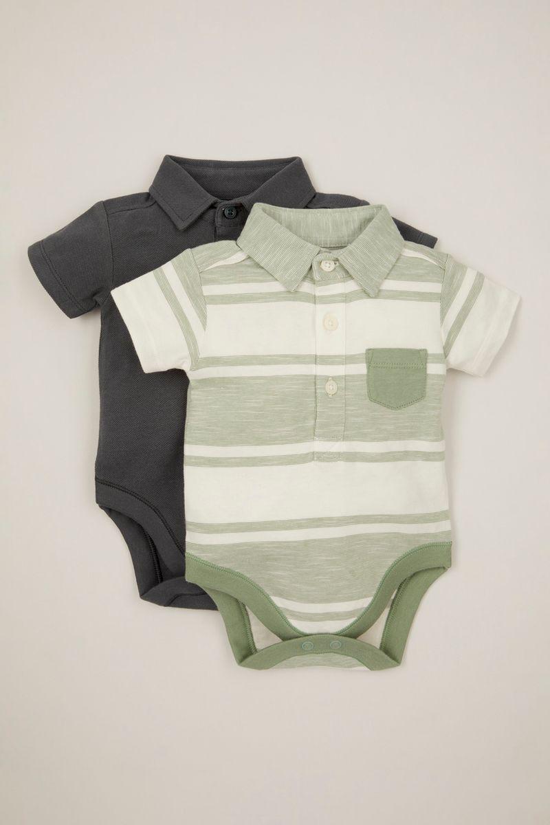 2 Pack Stripe Polo Shirt bodysuits