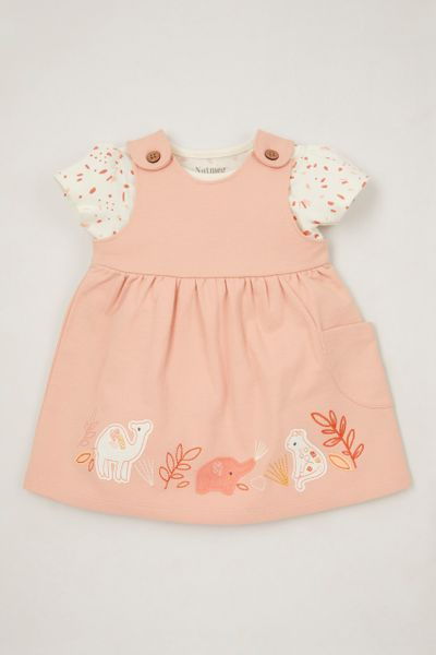 Pink Pinafore Applique Dress set