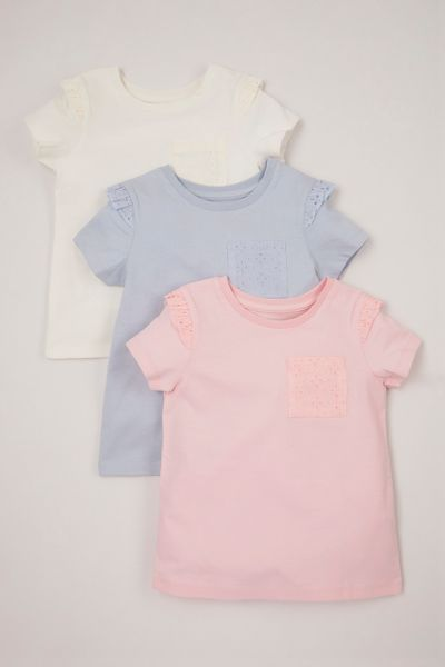 3 Pack Broderie Pocket T-shirts
