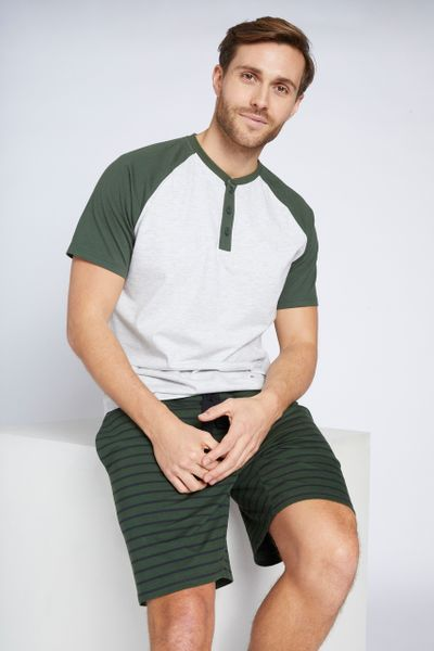 Green Stripe Print Pyjamas