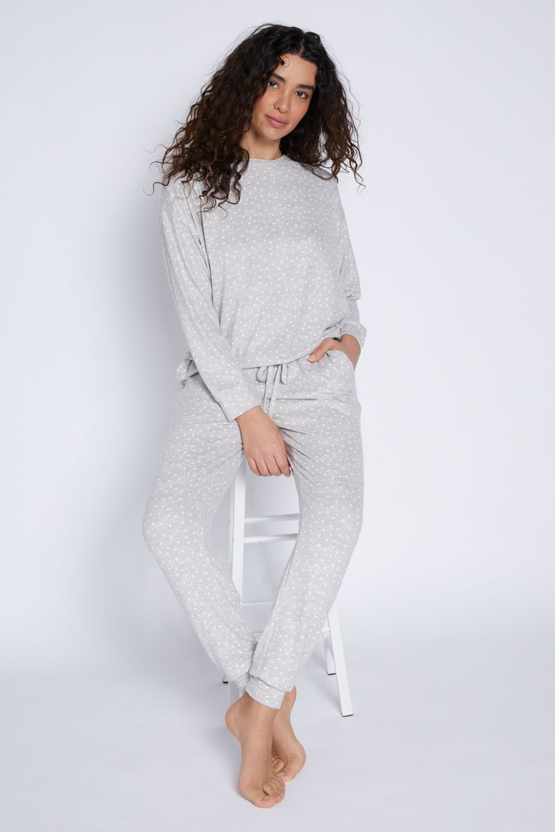 Grey Spot Print Loungewear Set