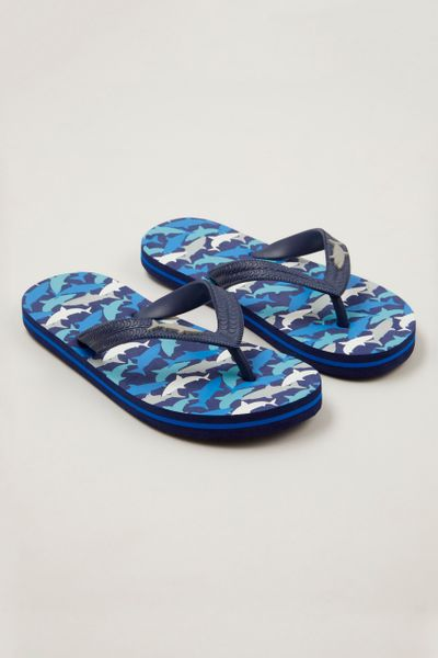 Blue Shark Print Flip Flops