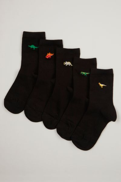 5 Pack Dino Embroidered Socks