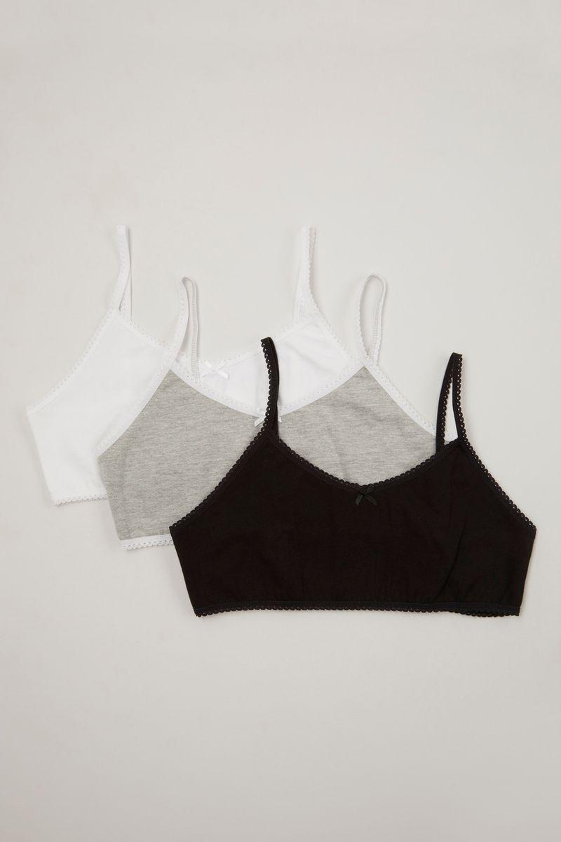 3 Pack Black White & Grey Crop Tops