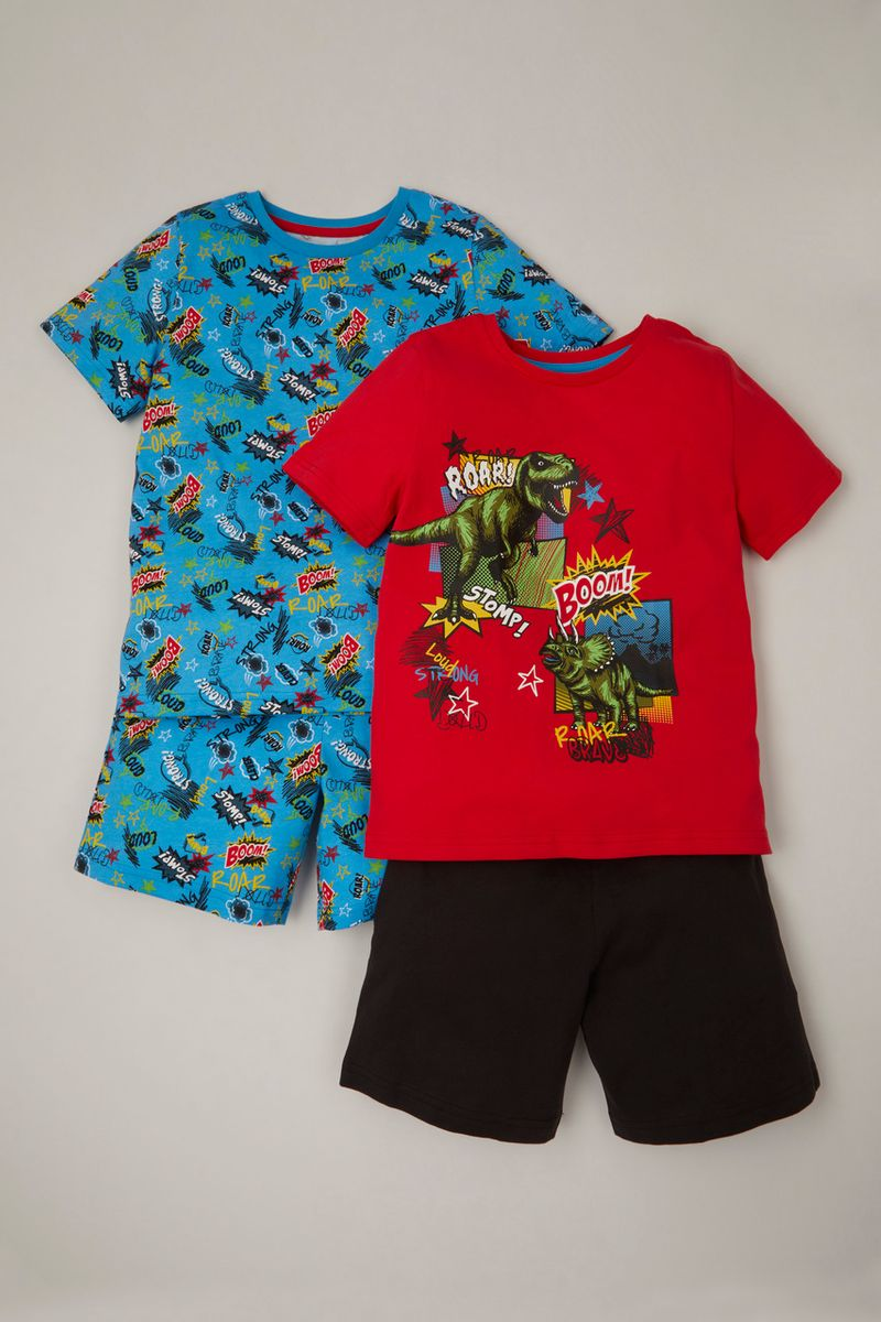 2 Pack Cartoon Dinosaur Pyjamas