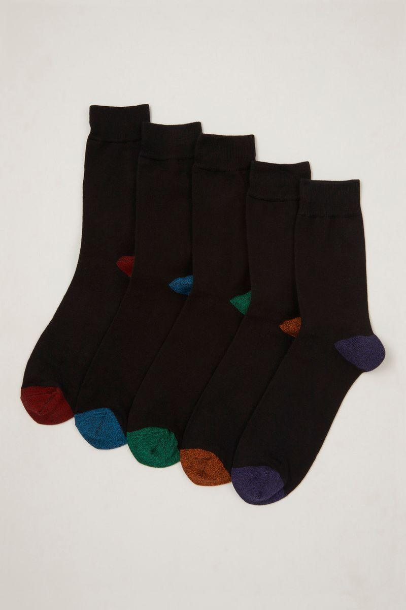 5 Pack Bold Heel & Toe Socks