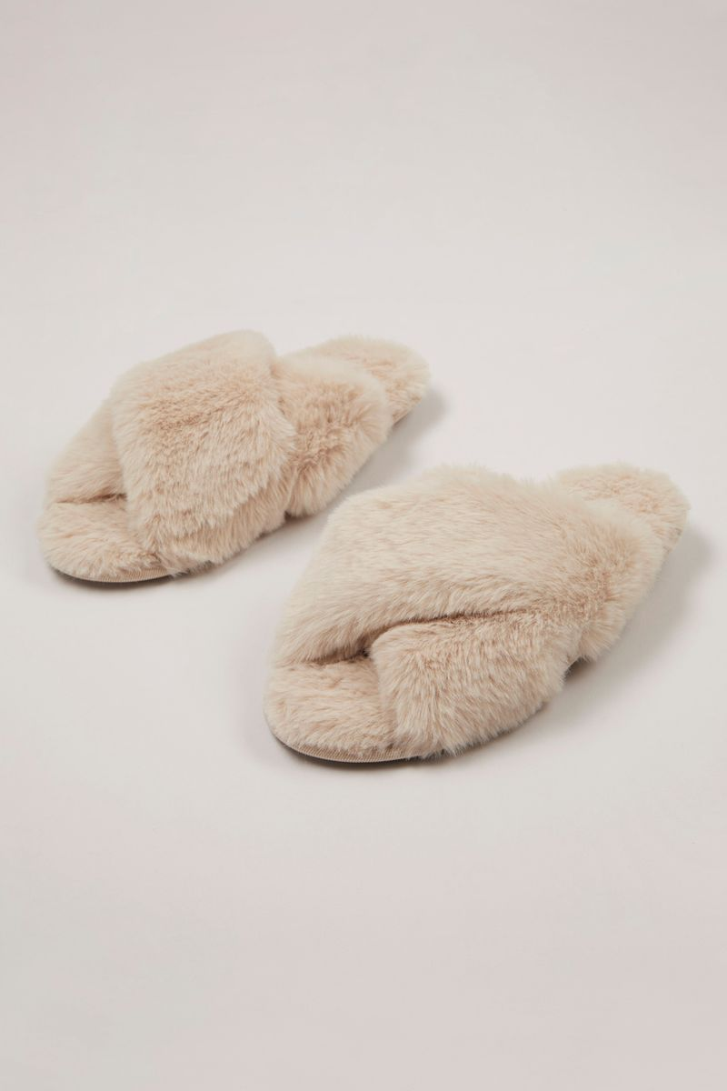 Faux Fur Crossover Sliders