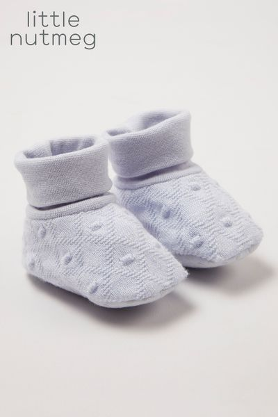 Little Nutmeg Blue Knitted booties