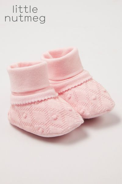 Little Nutmeg Pink Knitted booties