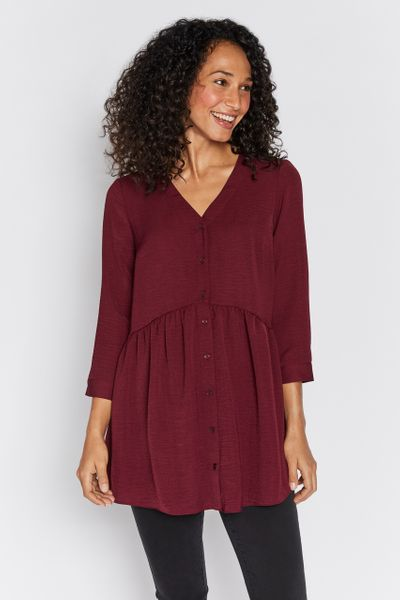 Berry Button Peplum Tunic
