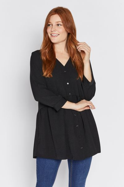 Black Button Peplum Tunic