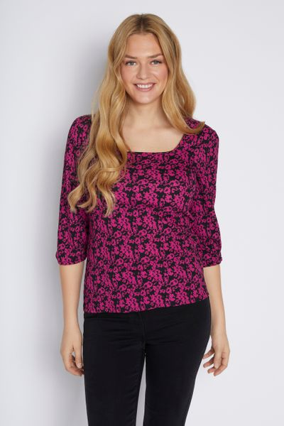 Floral Square Neckline Top