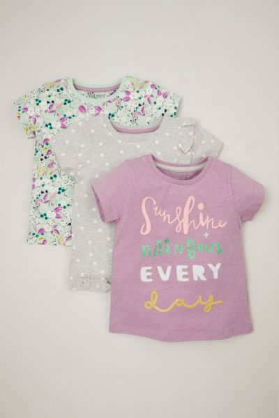 3 Pack Flower Print T-shirt