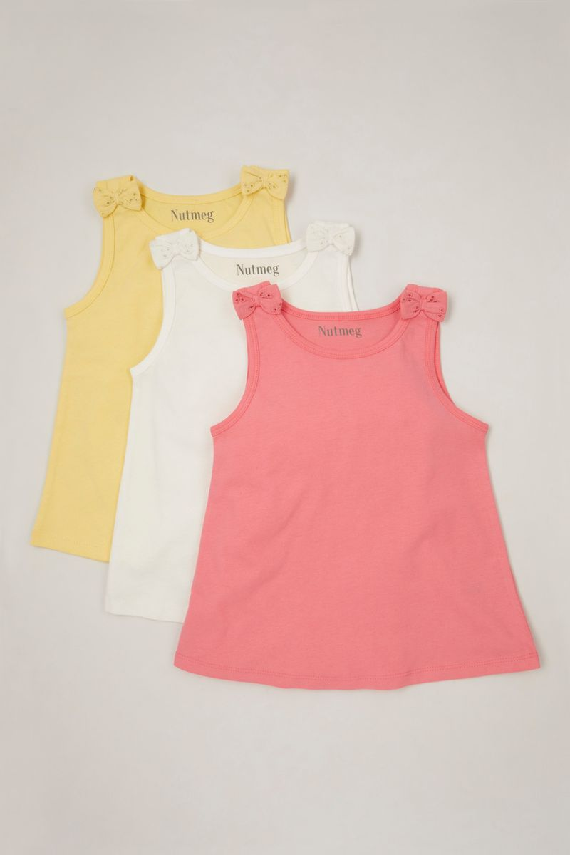 3 Pack Broderie Bow Vests