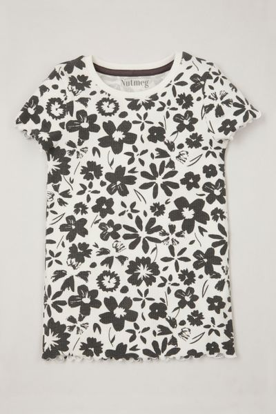Mono Flower Ribbed T-Shirt 3-14yrs
