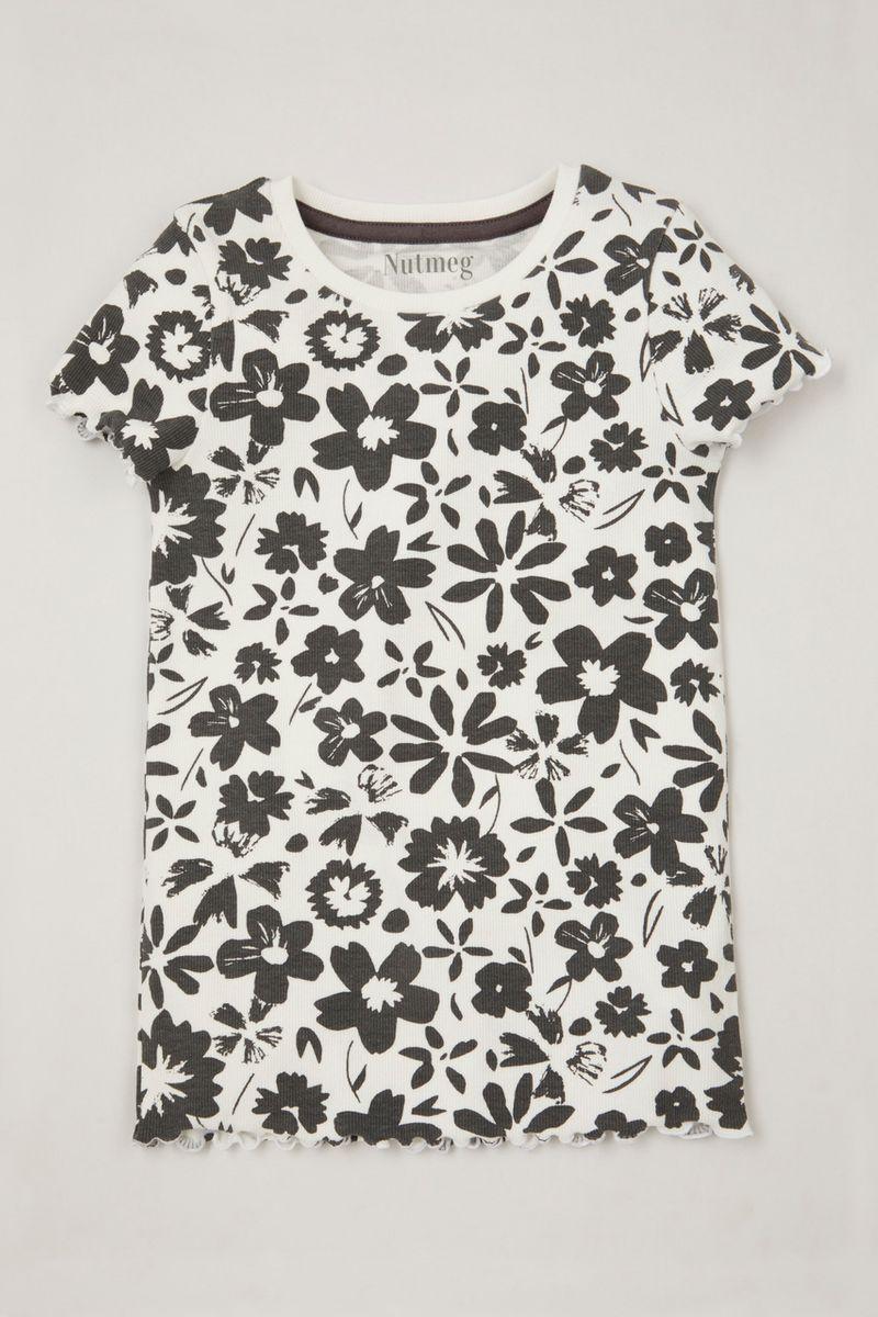 Mono Flower Ribbed T-Shirt 3-14yrs