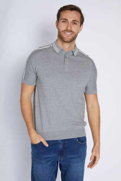 Grey Stripe Knitted Polo Shirt