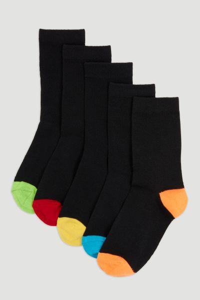 5 Pack Black Bright Heel & Toe Socks