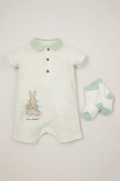 Peter Rabbit Green Stripe Romper with Socks