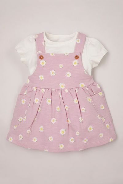 Daisy Jersey Pinafore Dress set