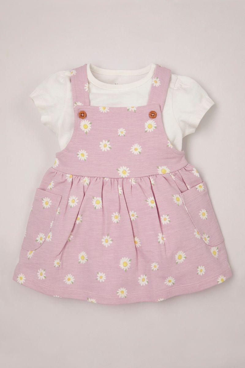 Daisy Jersey Pinafore Dress set