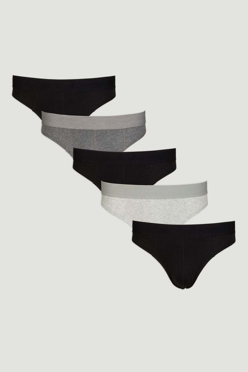 5 Pack Black & Marl Briefs