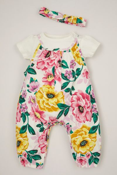 3 Piece Bold Flower Dungaree set