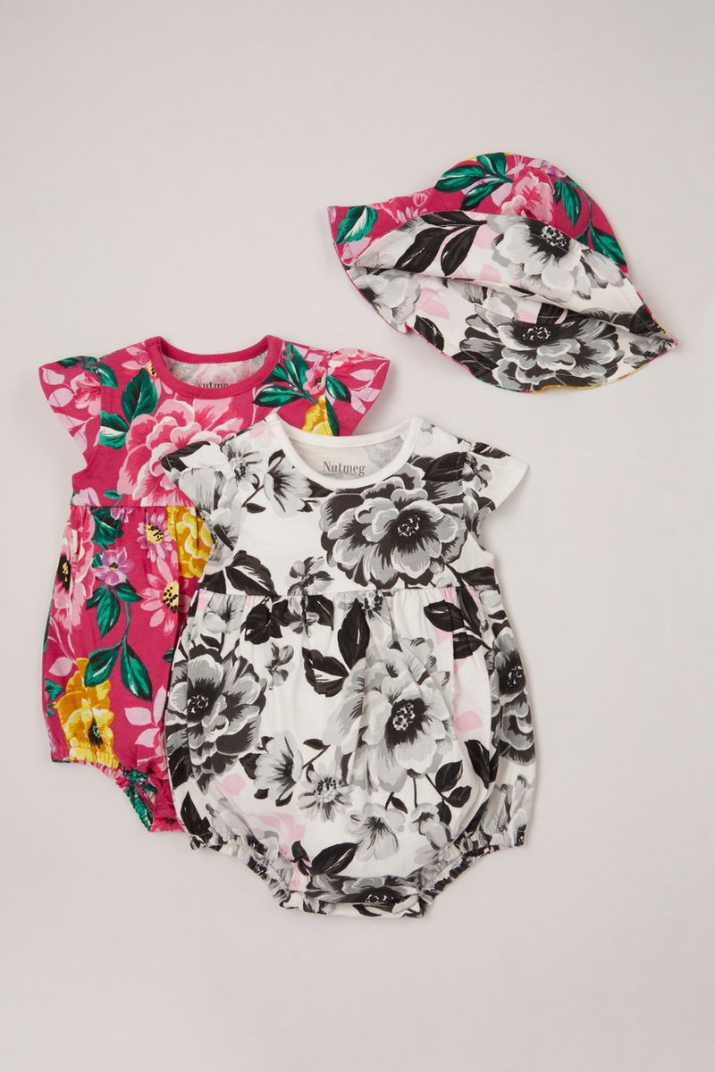 2 Pack Floral Rompers with Reversible hat