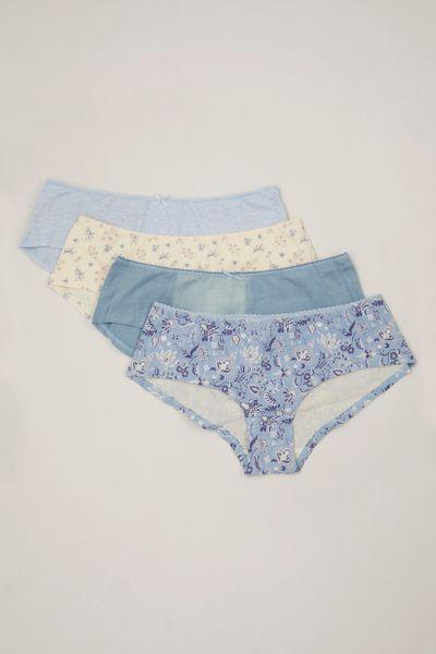 4 Pack Blue Floral Shorts Briefs