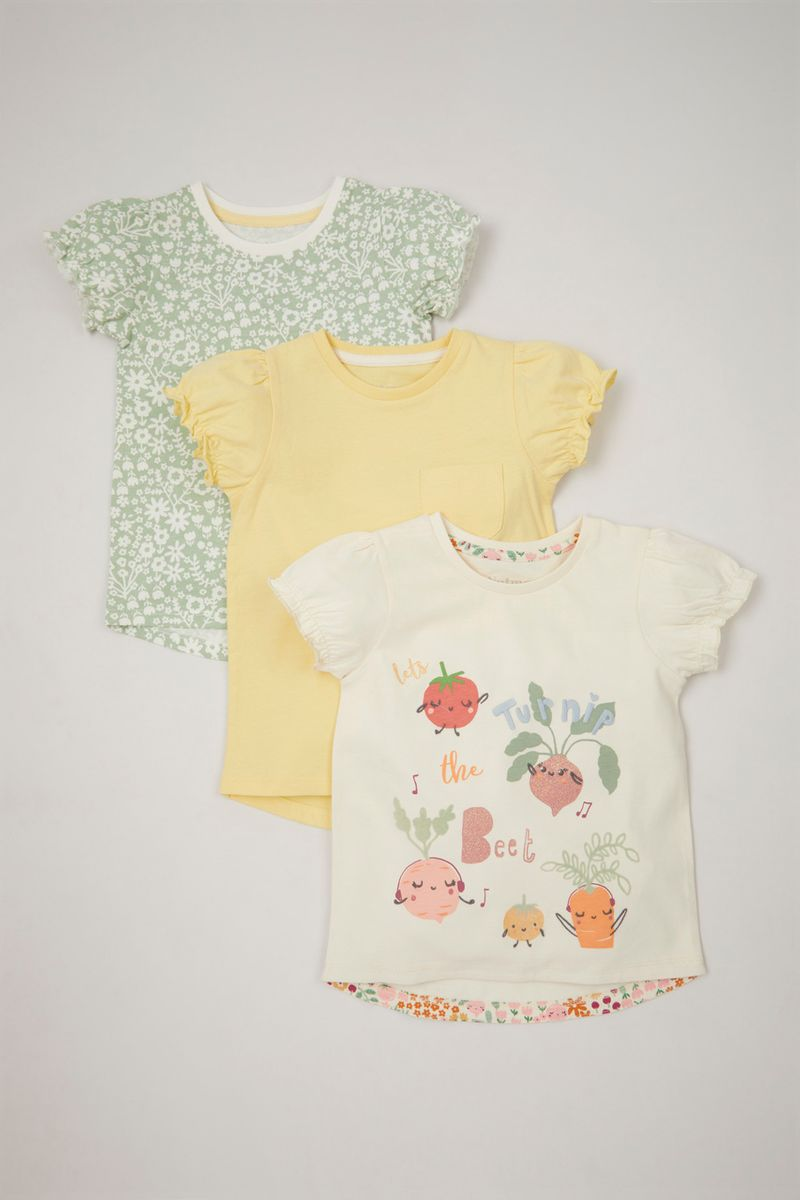 3 Pack Garden Print T-shirts