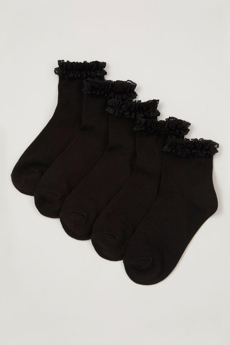 5 Pack Black Frill Socks