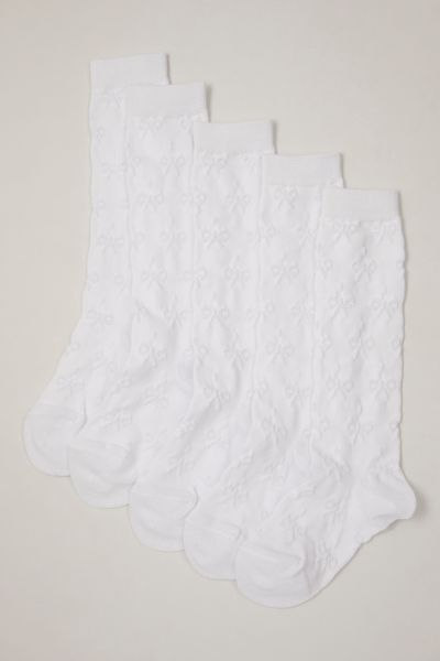 5 Pack White Knee High Socks