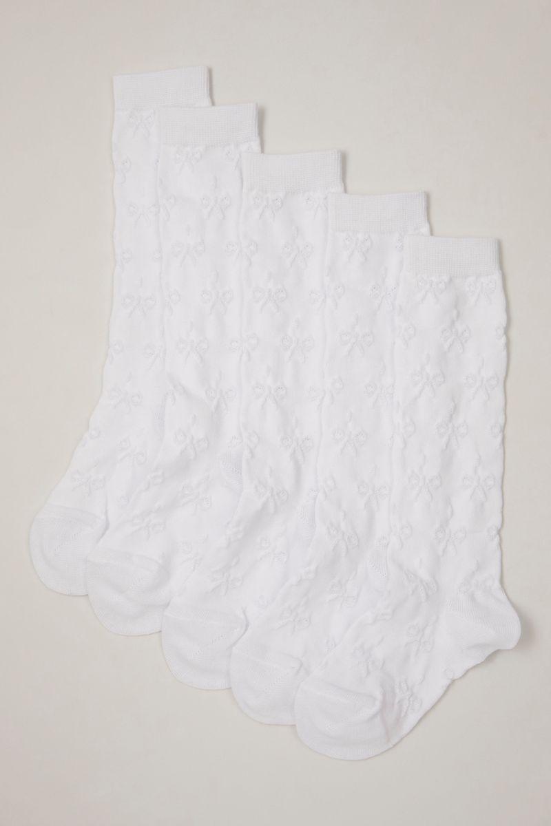 5 Pack White Knee High Socks