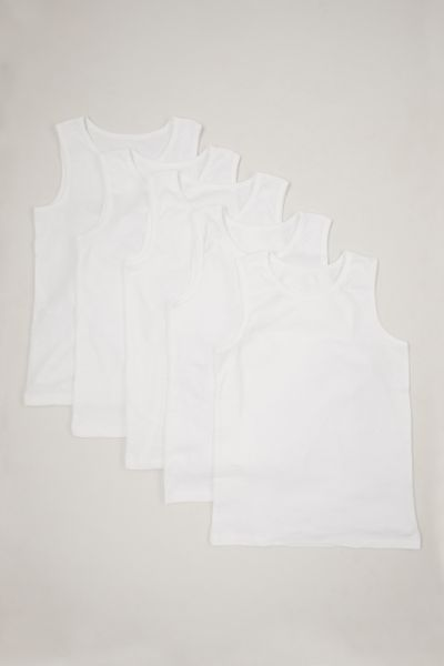 5 Pack White Vests