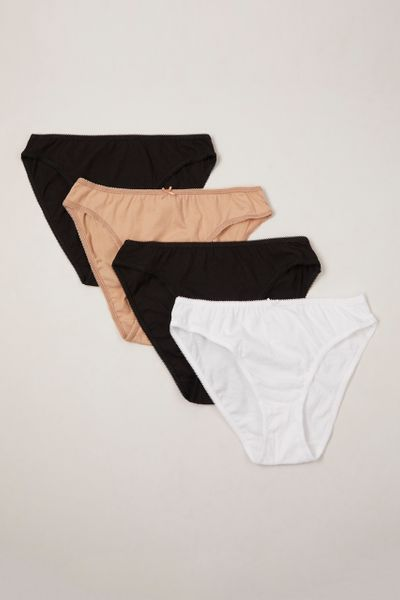 4 Pack Nude  Black and White High Leg Briefs