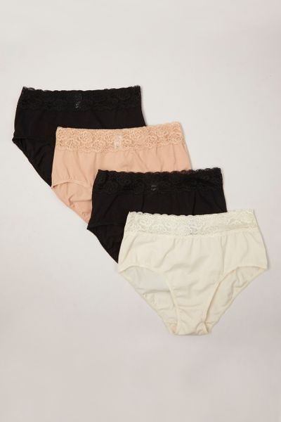 4 Pack Lace Top Natural Colour Full Briefs