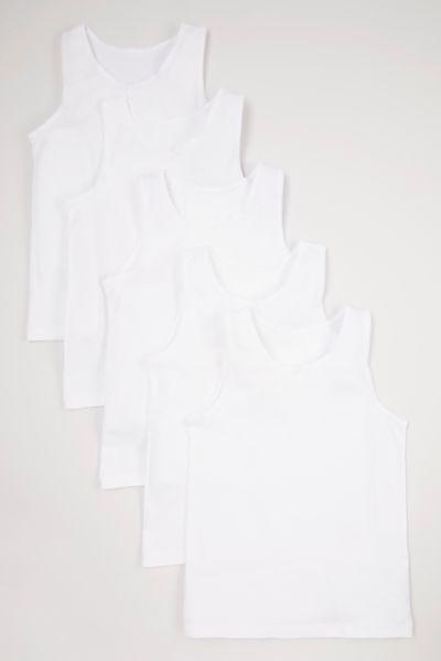 5 Pack White Vests