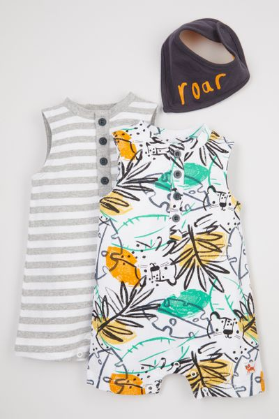2 Pack Tropical Romper & Bandana bib