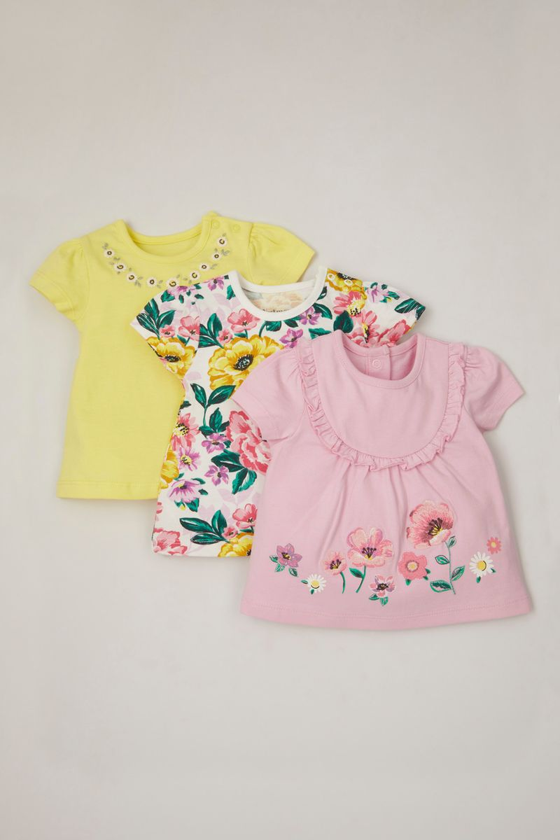 3 Pack Large Flower Print T-shirts