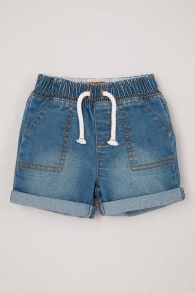 Denim pull-on shorts