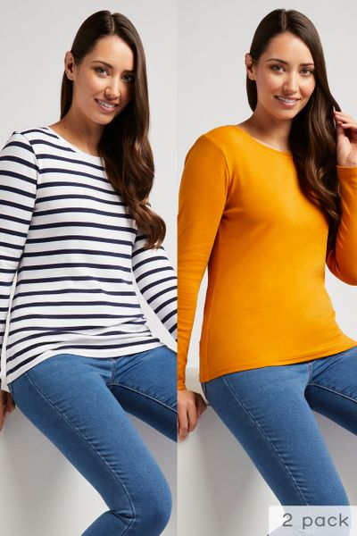 Online Exclusive 2 Pack Ochre & Navy T-shirts