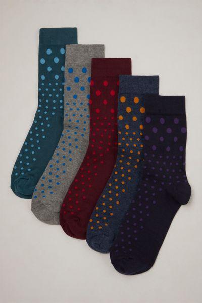 5 Pack Colourful Spot Socks