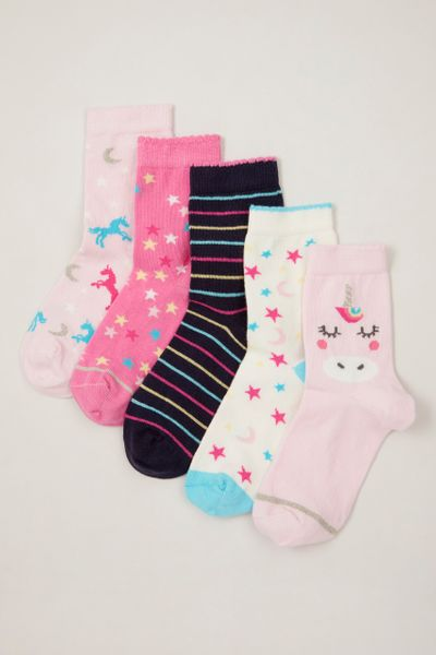 5 Pack Sparkle Unicorn Socks